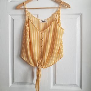 Yellow with White Stripes Tie Up Crop Top